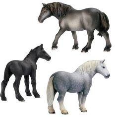 Schleich Percheron Stallion, Mare & Foal