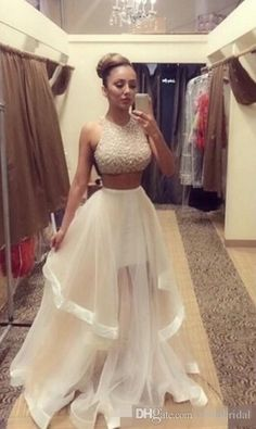 9352e6bf8d 2015 Fashion Light Champagne Two Pieces Prom Dresses with Sliver ... White  Pageant Dresses