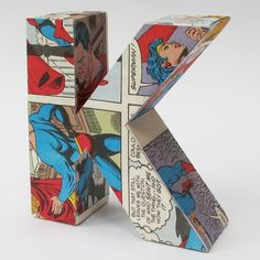 K is for kryptonite: comic book letters... for kids could make their owe at the party and dry while we do games, cake, and gifts??? Or just D's for Daniel??