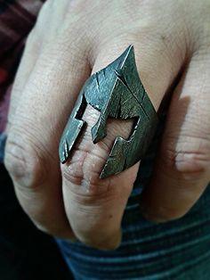 "Spartan ring king Leonidas ""battle helmet"" BLACK EDITION sterling silver 925"