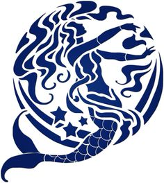 Mermaid Silhouette | Other :: Blue Silhouettes :: Blue Mermaid - Blue Water Pool Mosaics