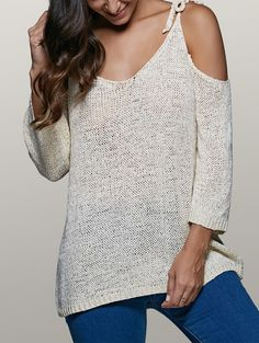 Cold Shoulder Sweater with Lace Up