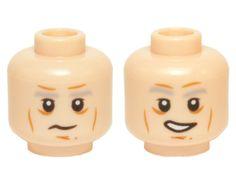 LEGO Minifigure Head MEDIUM DARK FLESH Male Brown Cheek Lines Wide Grin