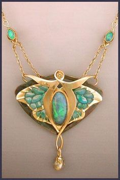 """La Luna,"" Art Nouveau-esque necklace by Karen Olsen Ramsey. Gold with abalone, black opals, champagne diamond, enamel, freshwater pearls, shakudo, and tourmaline   http://www.artjeweler.com"