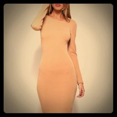 Coffee stretch long dress NWT Size 6 coffee color from hello milky. Never worn with tags Hello molly Dresses Midi