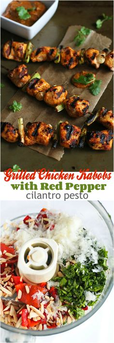 This recipe for grilled chicken kabobs adds a little kick to a light meal with red pepper cilantro pesto.