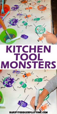 Kitchen Tool Halloween Monster Craft - HAPPY TODDLER PLAYTIME Set up this super fun and easy Halloween craft for your toddler or preschooler! Make scary Halloween monsters using kitchen utensils! Diy Niños Manualidades, Manualidades Halloween, Easy Halloween Crafts, Halloween Themes, Scary Halloween, Halloween Kitchen, Monster Activities, Monster Crafts, Toddler Activities