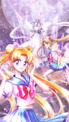In all forms: School girl Serena, Sailor Scout, and Moon Princess