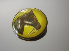 Intaglio Horse Brooch Reverse Painted Vintage 1910-1920's Jewelry