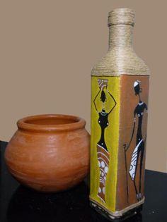 botella mujeres y hombres masais  lienzo crudo,pintura textil,fibra de marihuana pintura sobre lienzo