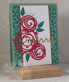 Debbie's Designs: 12 Days Of Christmas Swirly's Day 1 using Swirly Scribbles Thinlits Dies & Swirly Bird stamp set. 15 page tutorial available for purchase on my blog. Debbie Henderson.