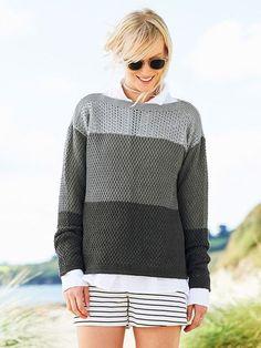 Strikkeopskrift: Sommersweater i gråtoner How To Purl Knit, Chunky Yarn, Sweater Fashion, Knitting Yarn, Knitting Projects, Diy Clothes, Knitwear, Knitting Patterns, Knit Crochet