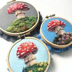 Browse unique items from GoodNaturedArt on Etsy, a global marketplace of handmade, vintage and creative goods. Felt Mushroom, Mushroom Art, Felt Pictures, Diy Embroidery, Craft Tutorials, Craft Ideas, Felt Art, Felt Crafts, Needle Felting