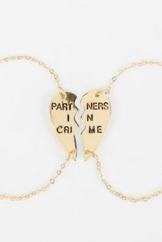 Partners in crime necklace. Such a cute bff necklace @Maitlyn Terry Trent (this one isn't sold out)