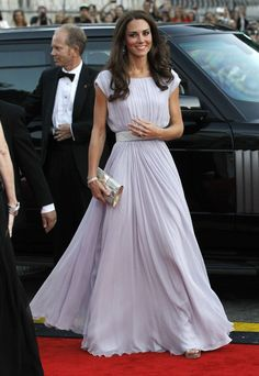 Kate Middleton wearing a lilac Alexander McQueen dress to the BAFTA Brits to Watch event in Los Angeles in July 2011.