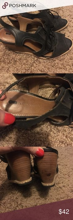 Anthropologie Oxford wedges Size 38 fits like a 7.5.  In good condition has a dark spot on heel as seen in pic.  Item is a reposh.   Super cute just don't seem to wear.  Any questions feel free to ask😊 Schuler&Sons Philadelphia brand Anthropologie Shoes Wedges