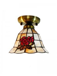 Flush Mount Ceiling Lamp with Sea Shell Rose Design