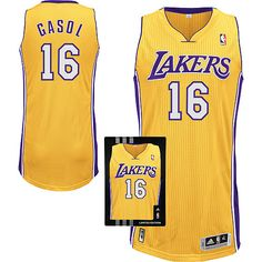 Los Angeles Lakers Pau Gasol 16 Yellow Authentic Jersey Sale