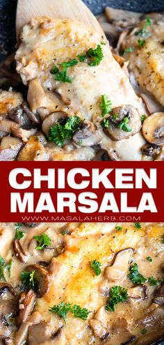 Chicken Marsala With Mushrooms Recipe - Date Night One Pan Skillet Dinner. Fast And Easy To Prepare And Oh So Elegant This Recipe Is Creamy, Flavorful And A Mixture Of The Olive Garden Copycat Dish And The Italian Classic Version. Chicken Mushroom Marsala, Chicken Mushroom Recipes, Best Chicken Recipes, Chicken Marsala Recipe Olive Garden, Chicken Ideas, Mushroom Sauce, Turkey Recipes, Italian Chicken Dishes, Classic Italian Dishes
