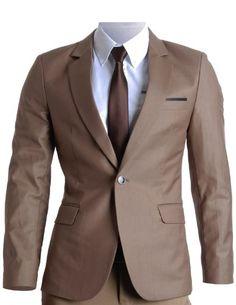 FLATSEVEN Homme Slim Fit Premium Blazer Veste (BJ201) - Taille L Couleur Marron  #FLATSEVEN #vetement #fashion #homme #veste