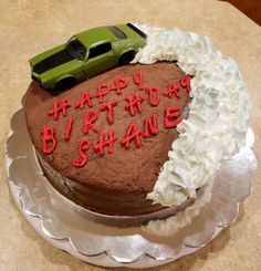 car cake I made this cake with a 1973 Chevy Camaro doing a burnout on the top. Birthday Cake Decorating, Cake Decorating Tips, Pretty Cakes, Cute Cakes, Funny Birthday Cakes, 16th Birthday Cake For Boys, Cake Birthday, Birthday Ideas, Cake Cookies