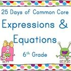 This resource was designed to provide students with 25 days of practice with the standards under the Expressions and Equations strand of the 6th Gr...