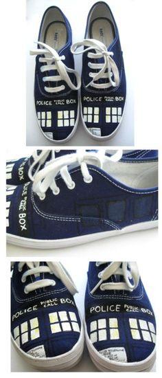 TARDIS sneakers! I need to make these!