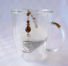 Brown Tea Bag Steeper - Tea Bag Clip with Silver Wire Tea Cup and Glass Beads - Tea Bag Holder