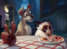 """Grumpy Cat """"loveste"""" din nou! Cum ar arata desenele animate daca simpatica felina ar fi personaj Disney"""