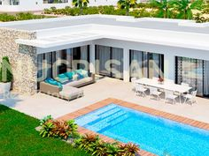 Magnificent Villa located in Cuidad Quesada, 3 bedrooms and 2 bathrooms with a total area of 154 and plot with an area of approximately 500 distributed o L Shaped House Plans, Pool House Plans, Dream House Plans, Modern House Plans, Flat Roof House, Facade House, House Floor, House Construction Plan, Modern Bungalow House