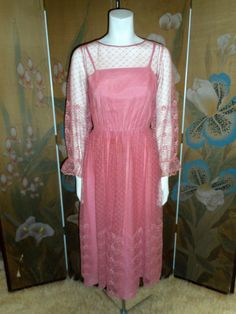 Vintage 1980's Dusty Rose Pink Lace Dress Size 4