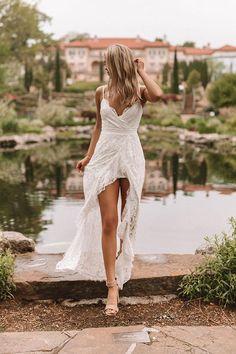 Sheath Wedding Gown, V Neck Wedding Dress, White Wedding Dresses, Boho Wedding Dress, Wedding Gowns, Wedding Dresses Simple Short, Short Lace Dress, Veronica, Lace Bridal