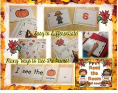Fall Read the Room for Initial Sounds! Also has word and picture cards for sentence building!  Use as a stationary center and sensory bin activity too!