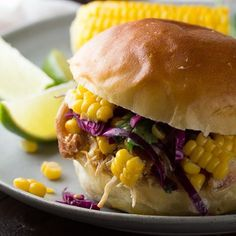 Pulled Honey Lime Chicken Sandwiches with Corn & Cabbage Slaw (slow cooker) (Chicken Sandwich Recipes) Lime Recipes, Corn Recipes, Dinner Recipes, Lunch Recipes, Shredded Chicken Sandwiches, Chicken Sandwich Recipes, Slow Cooker Chicken Healthy, Honey Lime Chicken, Recipes