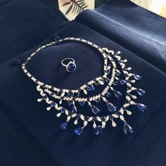 chopardredcarpet:  A closer look at the exquisite sapphire and diamonds necklace worn by Poppy Delevingne at our Gold Night