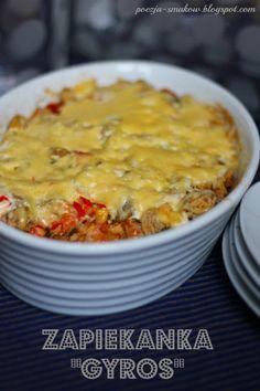 Poezja Smaków: Zapiekanka warstwowa gyros - kebab. Stew, Macaroni And Cheese, Food And Drink, Cooking Recipes, Pizza, Baking, Eat, Ethnic Recipes, Casseroles