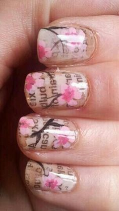 newspaper print + floral nails.