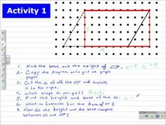 This is a video lesson on developing the area formula for a parallelogram from the area of a rectangle. This can be a tactile geometry lesson if you create a. Area Formula, Geometry Lessons, Maths Area, Hands On Activities, Teaching Math, Jay, Education, School, Youtube