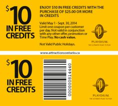 ATTRACTIONS ONTARIO - $10 In Free Credits at Playdium. Steve Pacheco Real Estate. More coupons: bit.ly/1hupagH Ontario Attractions, Public Holidays, Printable Coupons, Real Estate, Free, Real Estates