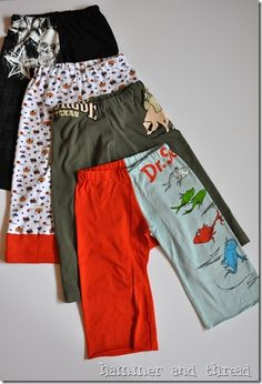 Kids pj pants made from adult T-shirt. Great recycle project