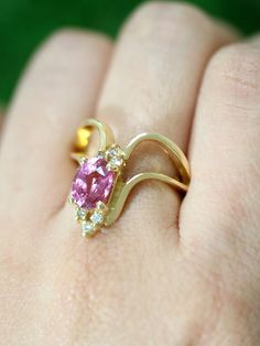 Pink Sapphire and Diamond V-line Cocktail Prong by stonesandgold