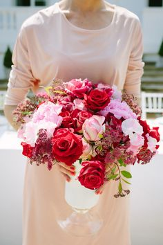 Pink and red bridal bouquet, Pierre Atelier