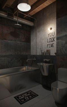 Stainless Steel Toilet, Sink, and Bathtub in Industrial bathroom decor home via NORDES Industrial Bathroom Design, Industrial Interior Design, Industrial Interiors, Industrial Loft, Loft Bathroom, Dream Bathrooms, Beautiful Bathrooms, Metal Furniture, Bathroom Furniture
