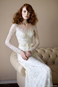mira zwillinger 2014 bridal angelina wedding dress long sleeves. Stunning sleeves, beadwork, lace etc.