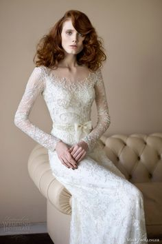 mira zwillinger 2014 bridal angelina wedding dress long sleeves. Stunning sleeves, beadwork, lace etc.