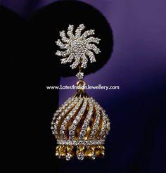 Diamond Jhumkas, Gold Diamond Earrings, Diamond Jewelry, Gold Jewellery, Diamond Pendant, Gold Pendent, Jewellery Earrings, Diamond Studs, Fashion Earrings