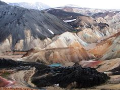 Beautiful view from Brennisteinsalda, a volcano known for many colors. Near Landmannalaugar in Iceland.