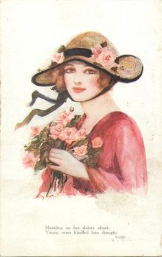 girl in red wearing rose trimmed straw hat holds roses to her chest, faces left looks front
