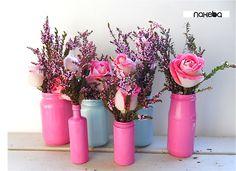 blush up-cycled glass jars. $4.00, via Etsy.
