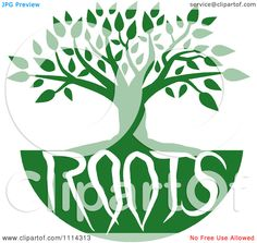 Family Tree Cliparts Clipart Green Family Tree With Roots Text Royalty Free Vector Image